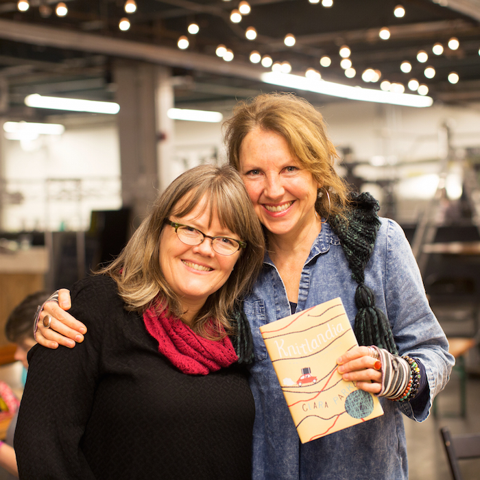 Clara + me at KNITLANDIA book launch party