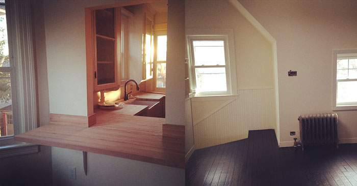 on left is the kitchen, on right is another view of the 3rd floor both in process of transformation