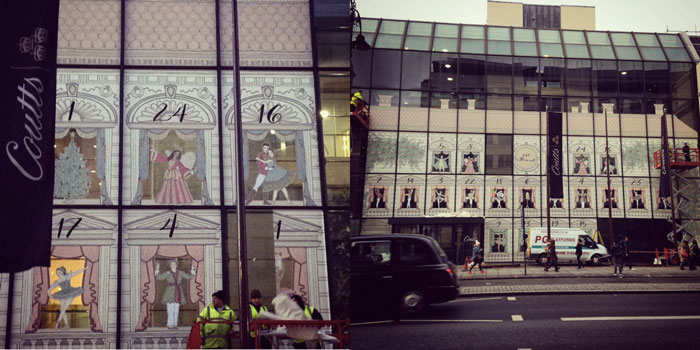 illustrated windows for Coutts at 40 Strand Street in London