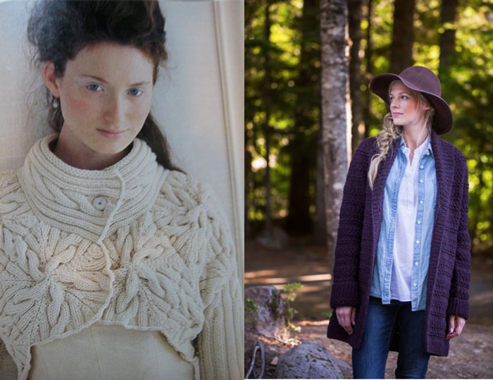 on left: Cabled Bolero, Vogue Knitting  on right: Bannock, Brooklyn Tweed